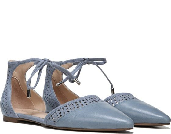 FRANCO SARTO- SHIRLEY FLATYour casual style will never fall flat in this  delicate lace-up silhouette. Pointed toe, ankle strap with lace-up closu