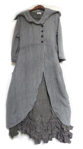 Fitzgerald Coat Dress in Ribbed Weave over the Fennefleur Frock in the Washed Silk.  Ivey Abitz.