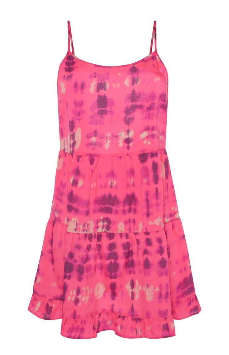 Roze tie-dye jurk