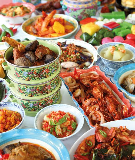 "This is a FEAST: Peranakan or Nonya cuisine combines Chinese, Malay and other influences into a unique blend. Peranakans are descendants of early Chinese migrants who settled in Penang, Malacca, Indonesia and Singapore, inter-marrying with local Malays. The old Malay word nonya (also spelled nyonya), a term of respect and affection for women of prominent social standing (part ""madame"" and part ""auntie""), has come to refer to the cuisine of the Perakanans."