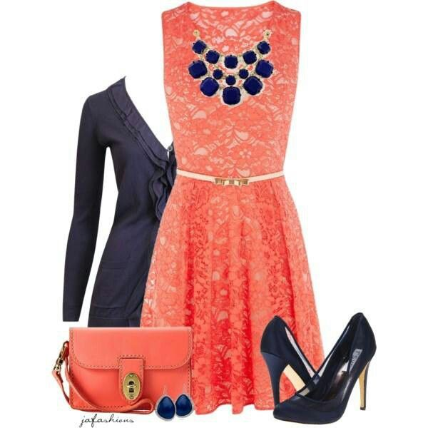 Black and white dress ith coral accessories