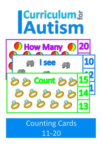 Count 11-20 Visual Flash Cards, Autism, Special Education, ABA
