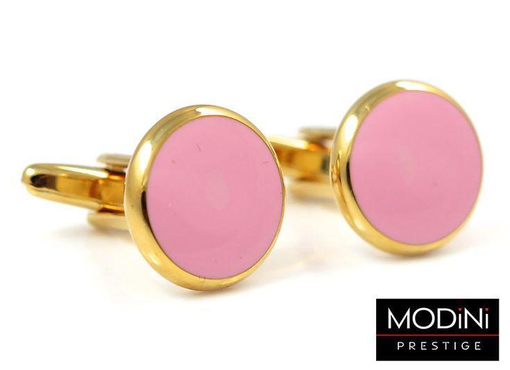 Złote okrągłe spinki do mankietów z różowym oczkiem - https://modini.pl/28-spinki-do-mankietow