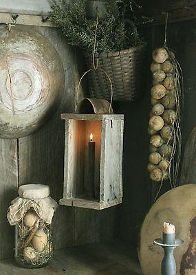 Primitive-Early-Look-Make-Do-Wood-Hanging-Candle-Lantern-Holder-w-Taper-Candle