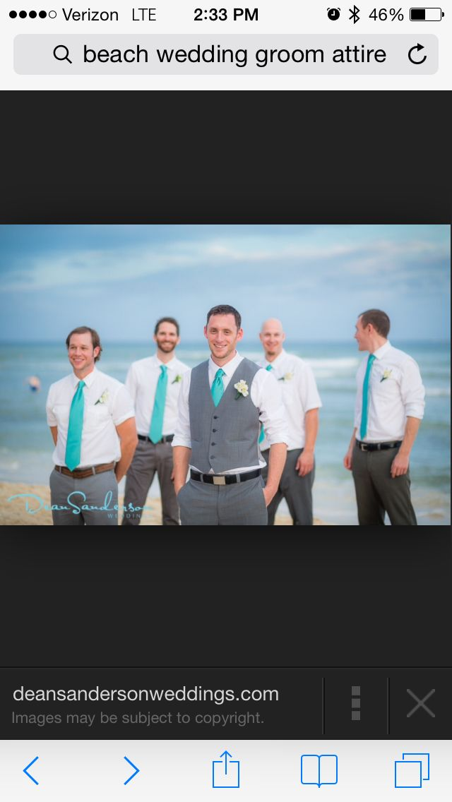 Teal beach wedding attire for men. Great allows for casual and comfortable look