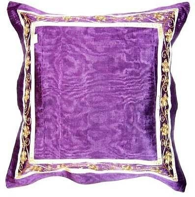 "2 Purple cushion covers gold embroidery silk like fabric 16"" designer RRP £32"