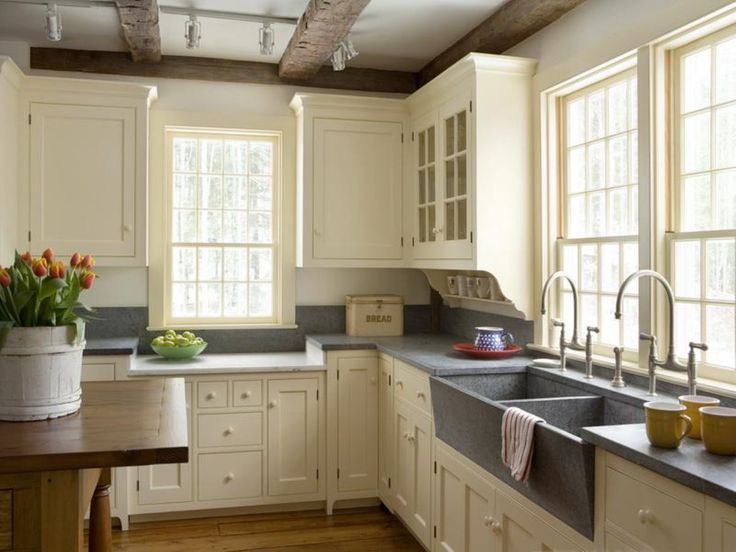 White Cabinet Colour Idea in Lovely Farmhouse Kitchen Plus Durable Sink Design and Single Hung Window