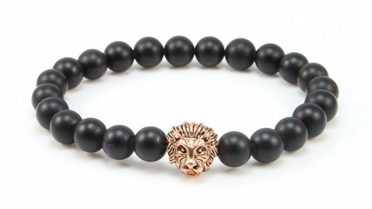 Cavalier 18kt Rose Gold Lion/Matte Agate Beads www.mycavalier.co
