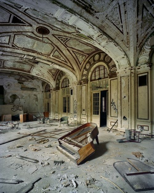Detroit - again ~~~ The Abandoned Lee Plaza Hotel ballroom with the shell of a piano. The decades-long decline of the US automobile industry is acutely reflected in the urban decay of Detroit, the city once lovingly referred to as Motor City.