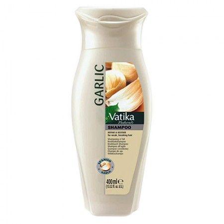 Shampoing hydratant à l'ail - Dabur Vatika Garlic Shampoo. Shampoing riche en anti-toxines. Aide à nettoyer les follicules pileux et à promouvoir la croissance des cheveux.  L'ail est bien connu pour favoriser la croissance des cheveux naturels, prévenir la casse, la chute des cheveux et les cheveux faibles.