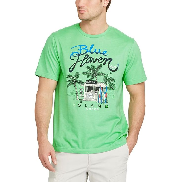 Men's Chaps Nautical Tee, Size: Large, Green