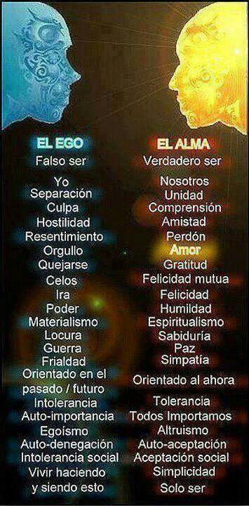 El Ego que muchas veces se apodera de nuestro ser...el Alma que es la que debemos querer!