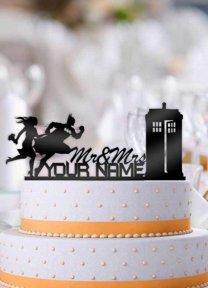 Personalized Batman And Bride Rush To The Tardis With Name Cake