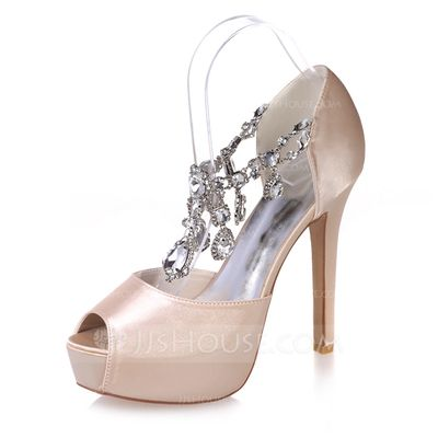 Women's Satin Stiletto Heel Peep Toe Platform Sandals With Rhinestone (047074160)