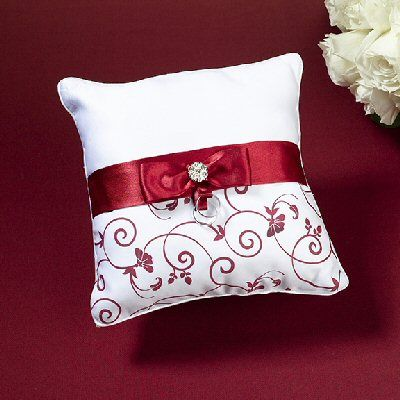 Measuring This Ring Pillow Is Covered In White Satin The Bottom Half Decorated With A Red Design Of Flowers Leaves And Vines