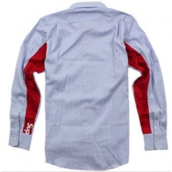 "Blue Supreme ""Pin Stripe Red in Sleeves"" Button Up Shirt #Supreme #longsleeves #buttonupshirt #streetwear #streetfashion #urbanwear | http://streetwearhub.com/button-up/supreme-pin-stripe-red-in-sleeve-button-up-shirt-blue"
