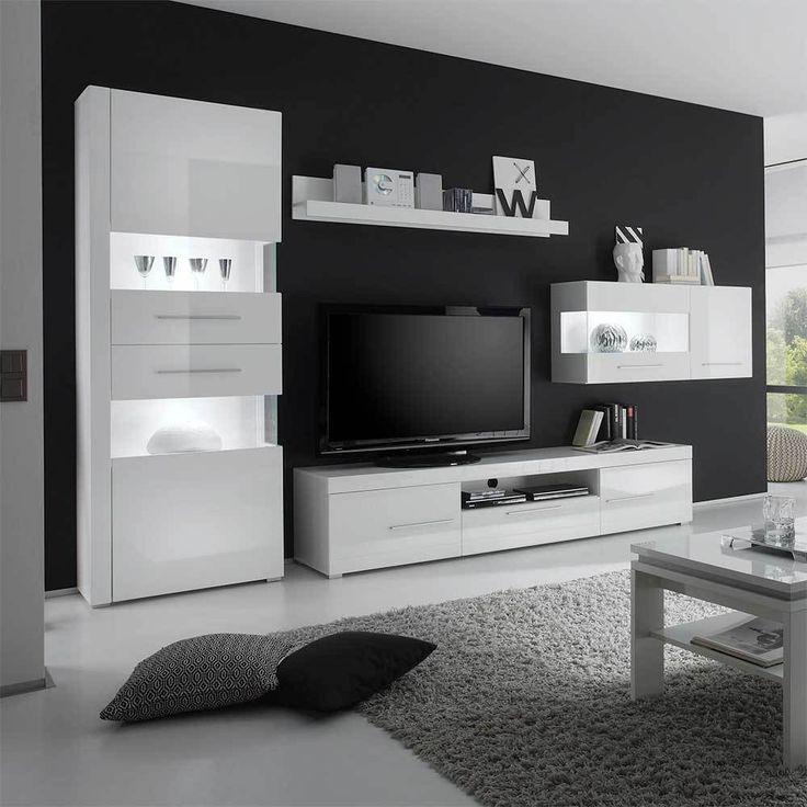Design Wohnwand In Hochglanz Weiss 340 Cm 4 Teilig Jetzt Bestellen Unter