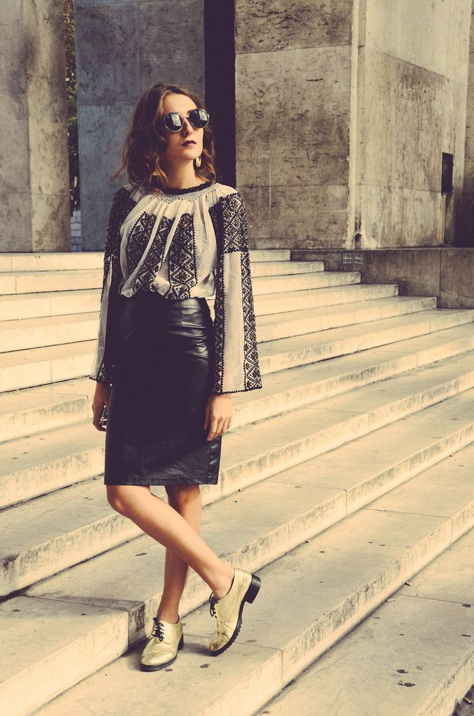 traditional Romanian blouse & leather skirt