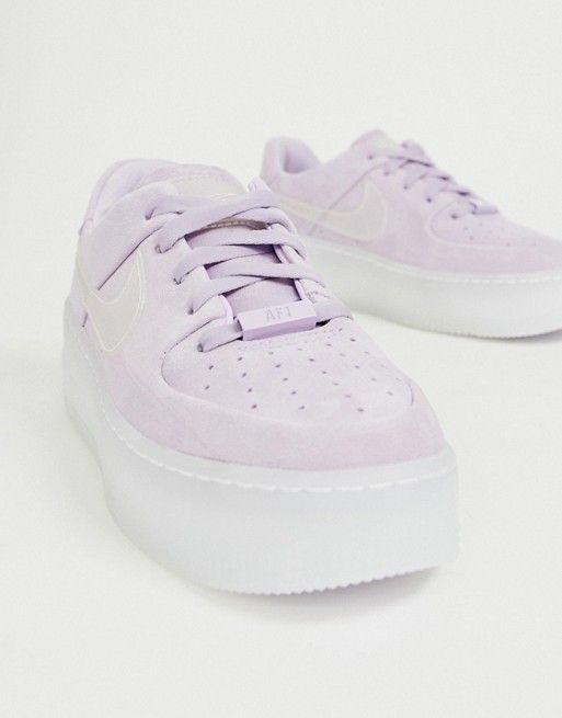 7bd76b0eaa Nike Lilac Ice Air Force 1 Sage Trainers in 2019 | Nike shoes | Air ...