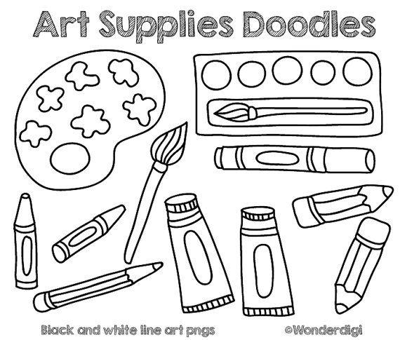 Art Supplies Clip Art Doodles Kids Clipart School Clipart