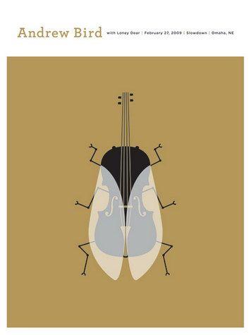 """""""Andrew Bird Concert Poster, hand made 3 color silkscreen print by Jason Munn"""""""