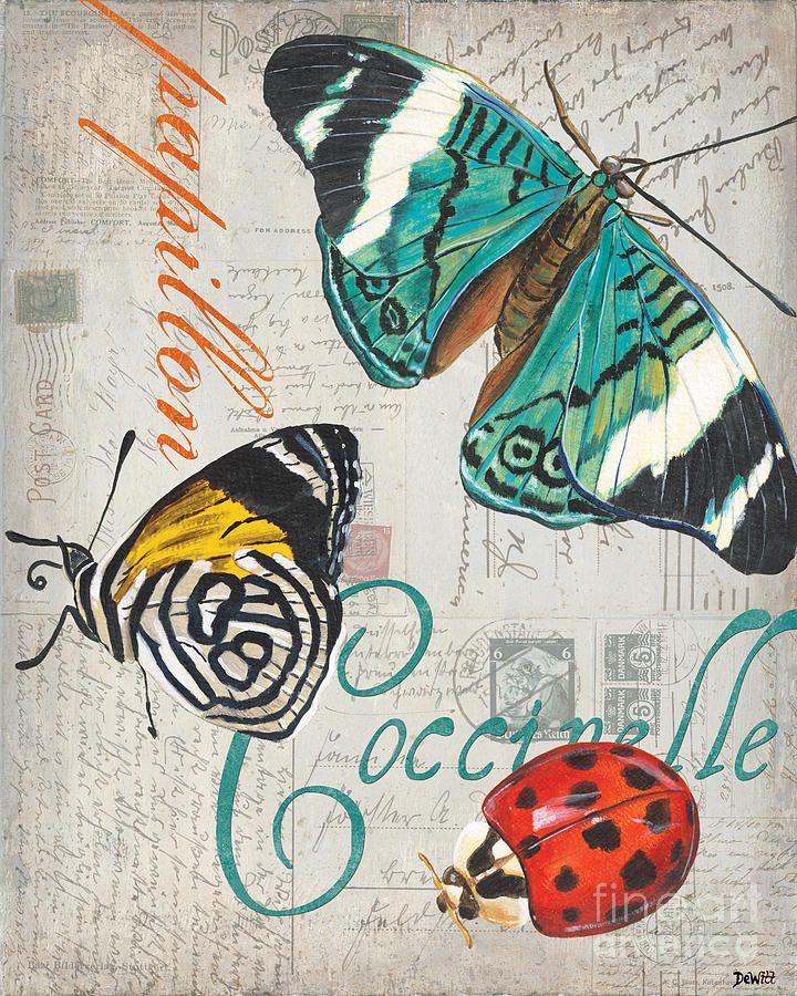 Grey Postcard Butterflies 2 Painting  - Grey Postcard Butterflies 2 Fine Art Print