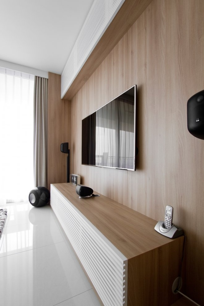 Ao studios bespoke entertainment console with samsung smart tv complete with bowers wilkins for the natura loft apartment singapore