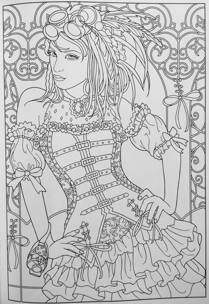 Creative Haven Steampunk Fashions Coloring Book (creative Haven Coloring  Books): Marty Noble: