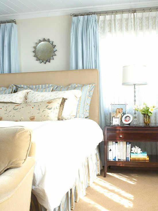 I love the soft pastel blue in this bedroom. I could take a nap here.