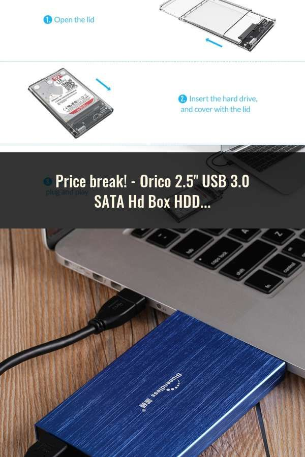 "Hard Drive USB 3.0 SATA External 2.5/"" HDD SSD Enclosure Box Transparent Case//Bag"