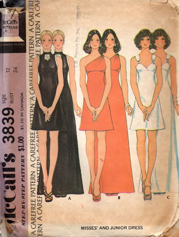 1970s McCalls 3790 Misses Coktail Prom Dress Mini Maxi Shoulder Straps, One Shoulder, Sleeveless womens vintage sewing Pattern by mbchills