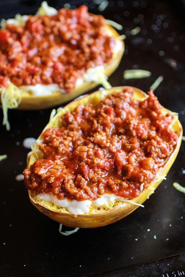 Roasted Garlic Spaghetti Squash Lasagna Boats | Recipe ...