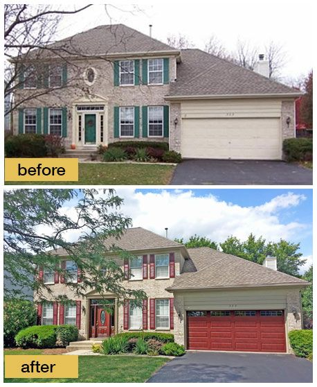 This exterior went from blah to ahh with a coordinating Clopay Arbor Grove Collection stained fiberglass entry door and Classic Cherry Ultra-Grain steel panel garage door with long rectangular windows. Both are low-maintenance and super energy efficient. www.clopaydoor.com Installation by Garage Door Specialists, Inc. in Wheeling, IL.
