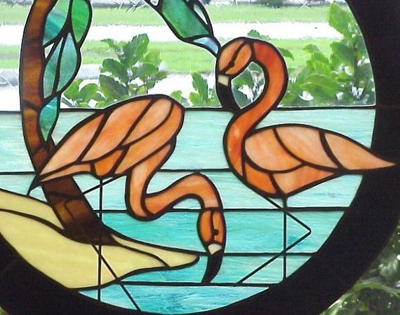 витраж фламинго картинки
