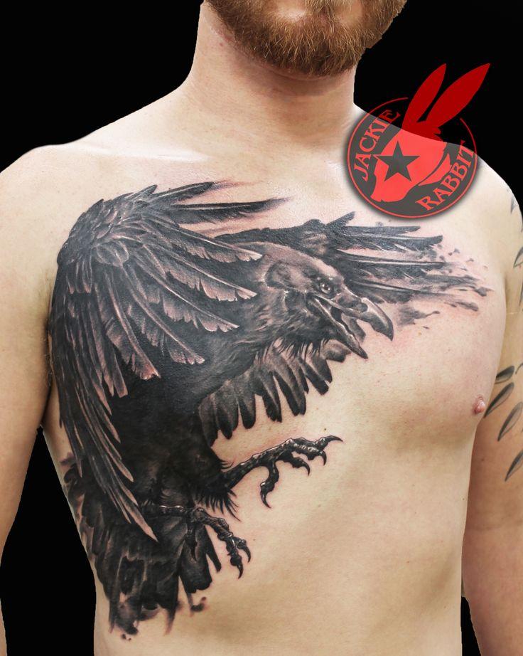 Realistic Raven Crow Chest Piece 3d Wings Black and Grey Tattoo by Jackie Rabbit Custom Tattoo by Jackie Rabbit @ Eye of Jade Tattoo 6165 Skyway, Paradise, CA  (530) 343-5233 www.jackierabbittattoo.com
