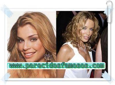 Parecidos con famosos: Brasileña Grazielli Massafera y Kylie Minogue