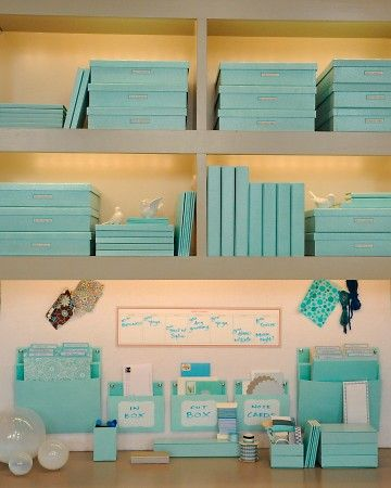 Desk organization - love the idea for matching to make it look nice out on the desk... hate the color!