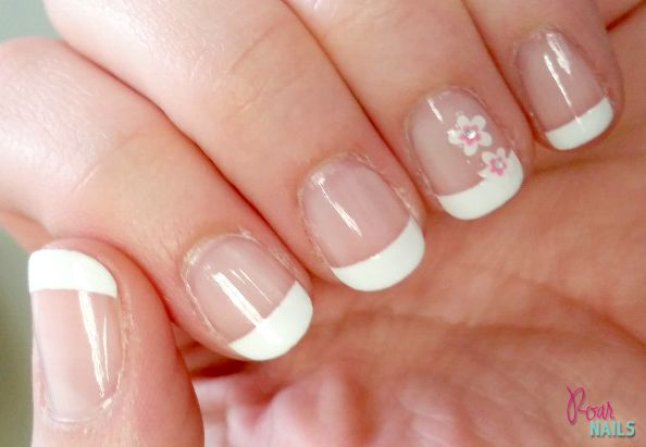 Classic French Manicure with Flower Decal