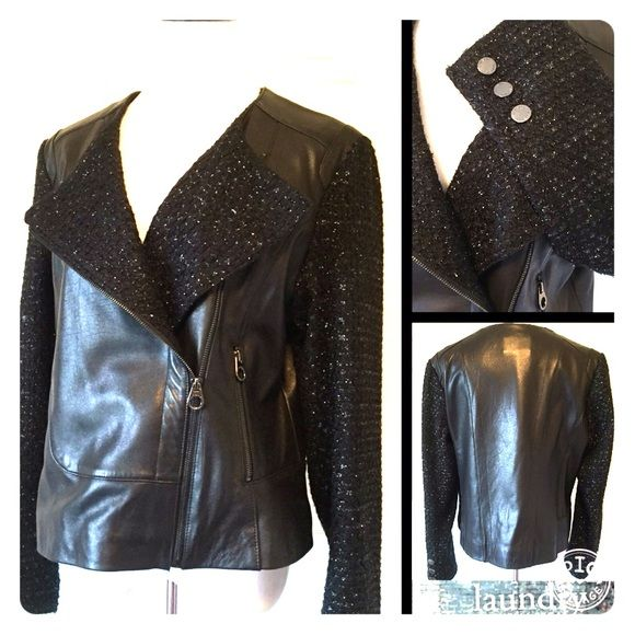"LAUNDRY BY SHELLI SEGAL LEATHER JACKET Stunning jacket by Laundry Shelli Segal and in like new condition. No tears, rips, marks or flaws on this beauty. 100% leather. Lined. Sleeves and front: 83% acrylic 17% polyester. 24"" sleeves 17"" shoulder seam to seam 23.5"" length 40"" bust. Size XL. No trades. Pay Your Way- Poshmark now accepts Apple Pay, PayPal, and Android Pay. Thank you for stopping by @treasuresbytrac Laundry by Shelli Segal Jackets & Coats"