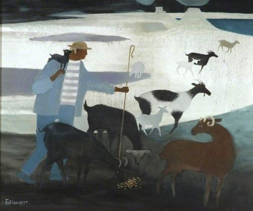 Mary Fedden - Goatherd with Goats (1997)