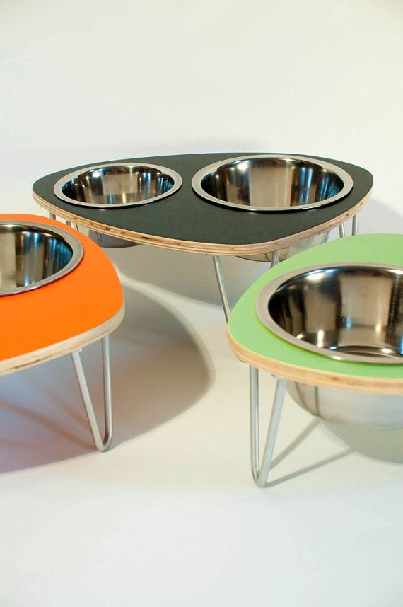 $35 Raised Pet Feeder with double stainless steel bowls and aluminum v-legs SMALL-5 inch