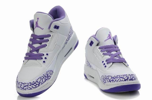 Jordans Shoe For Girls Only | Discount Michael Jordan 3 White Purple 30159-111 For Girls Shoes,New ...