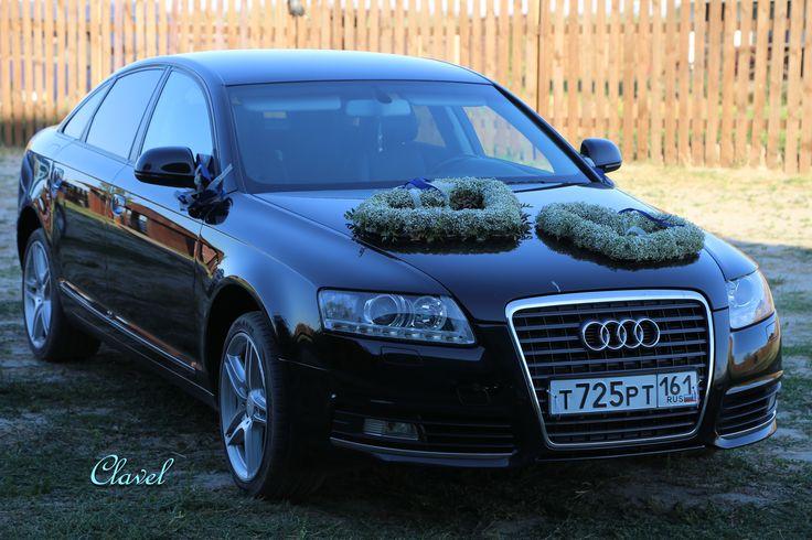 wedding car decoration on the car, white, gypsophila
