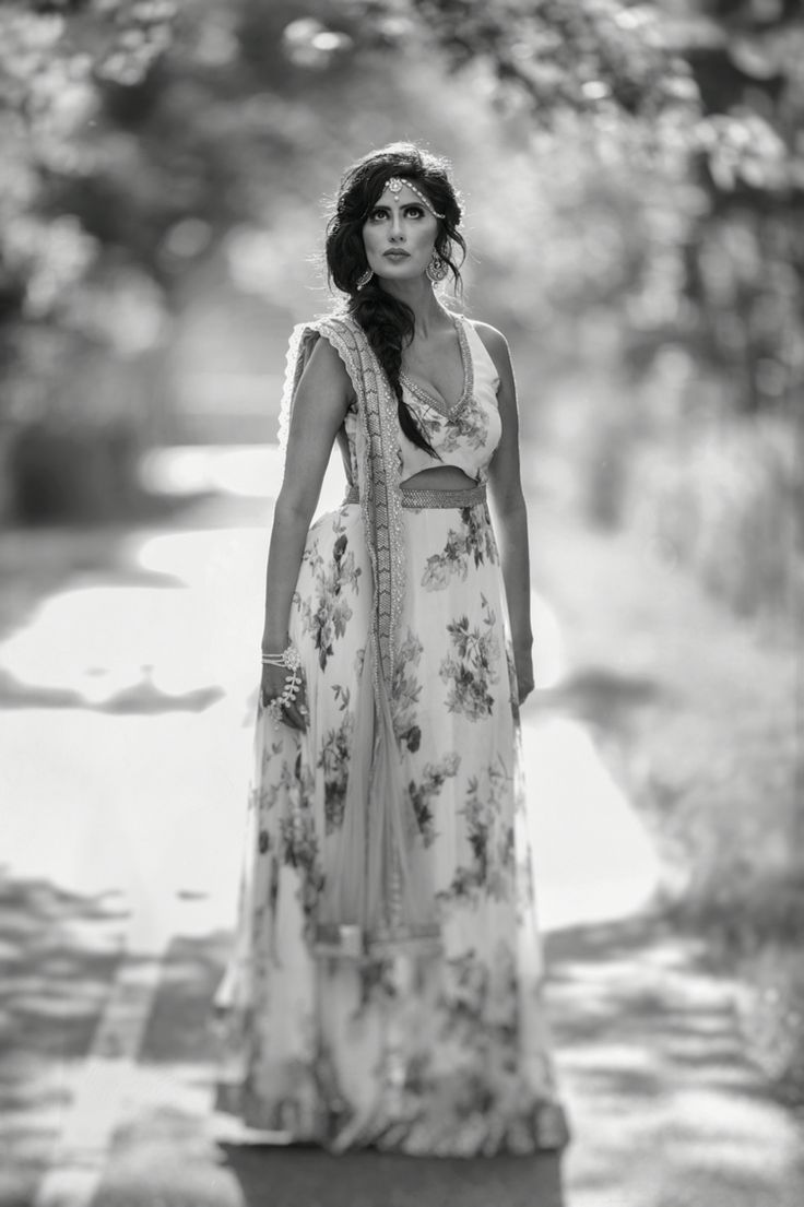 Anarkali....touch of romance..mystery captured in black and white ! Fusion wear. Indo-Western formal wear !