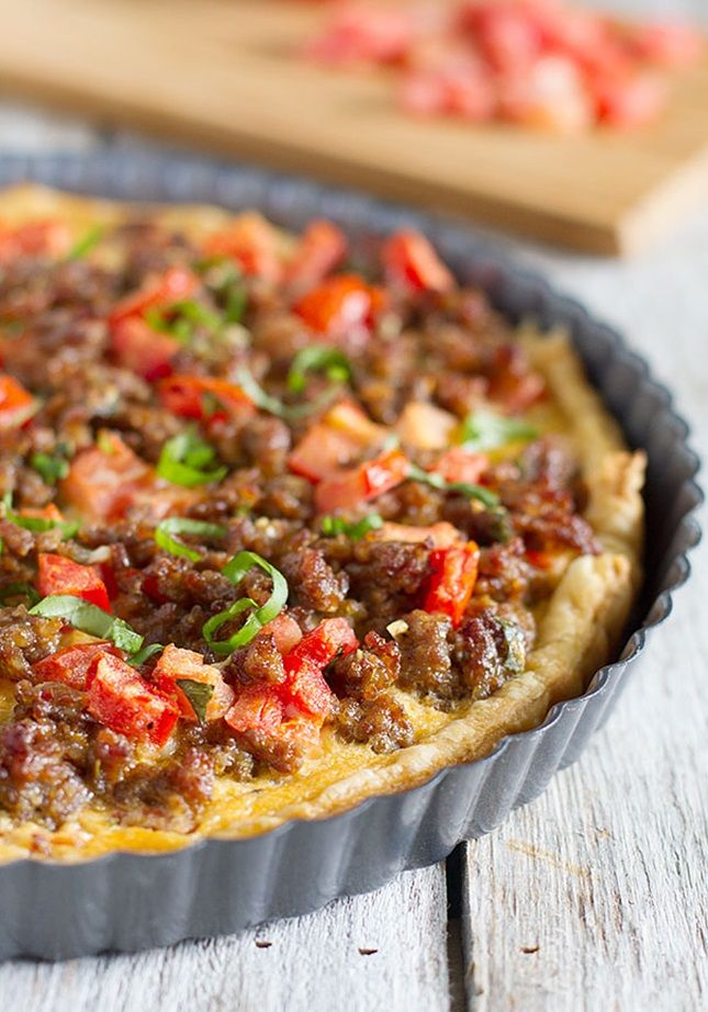 This Italian Tart is packed with sausage, tomatoes, basil and cheese.