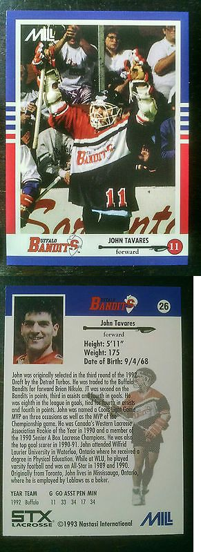 Other Sports Trading Cards 217: John Tavares 1992 Mill Nastasi Lacrosse Card - Mint Condition -> BUY IT NOW ONLY: $50 on eBay!