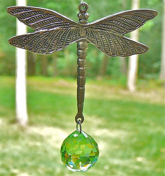 "Camilla the Dragonfly - 11"" Pewter and Crystal Suncatcher with 30mm Peridot Swarovski Crystal Ball and Swarovski Crystal Beads. $28.00, via Etsy."