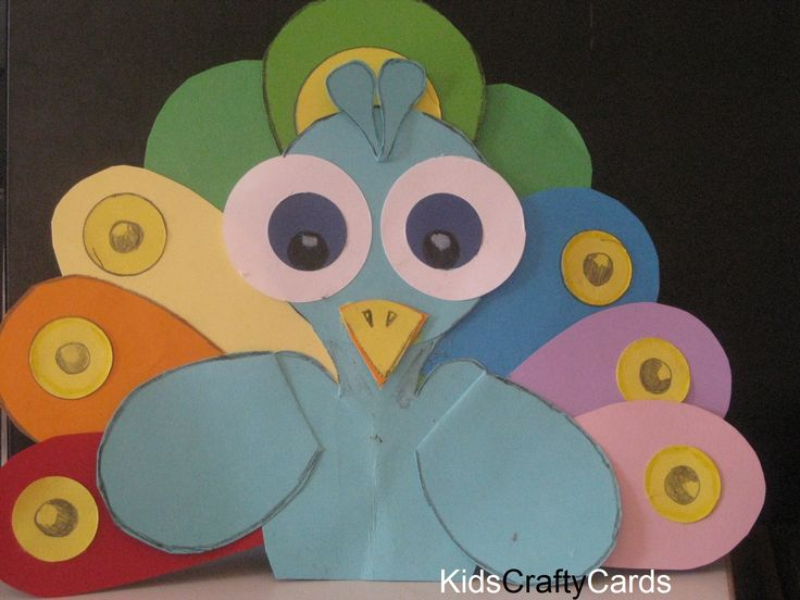 Peacock made from card - kidsCRAFTYcards