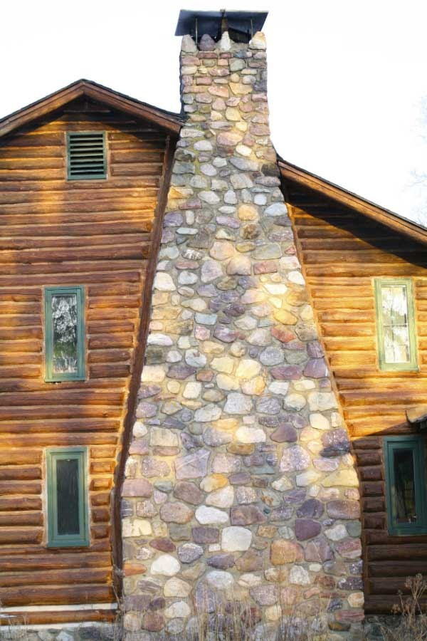 1000 ideas about stone chimney on pinterest cabin log for Log and stone house