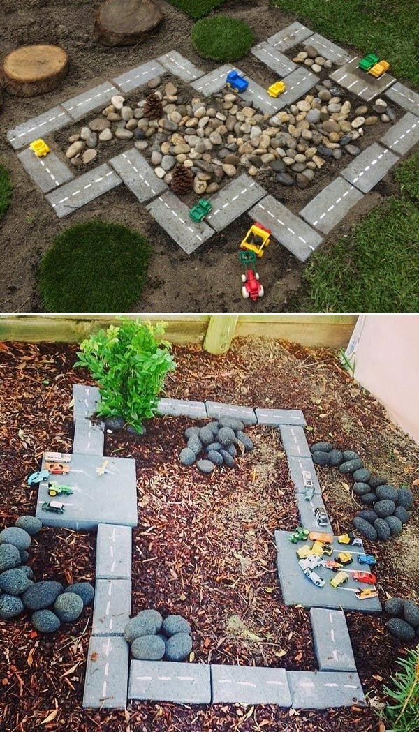 Inexpensive race car track with cinder bricks and rocks
